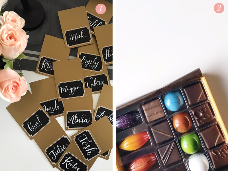 Lily and Val holiday party hand lettered name tags, a box full of colorful chocolate candies