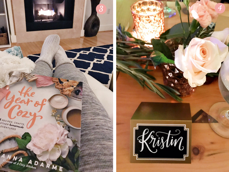 Comfy clothes and a good book in front of a fire, festive holiday table setting