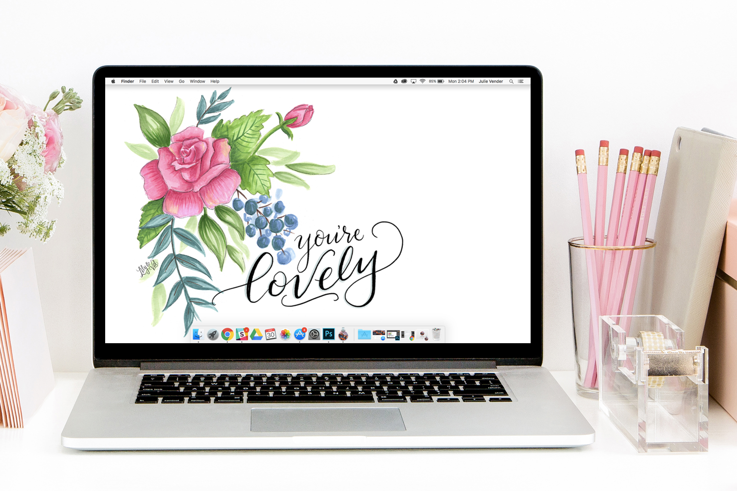 Lily & Val hand lettered and hand drawn free desktop download for February - everyone is love this Valentine's Day