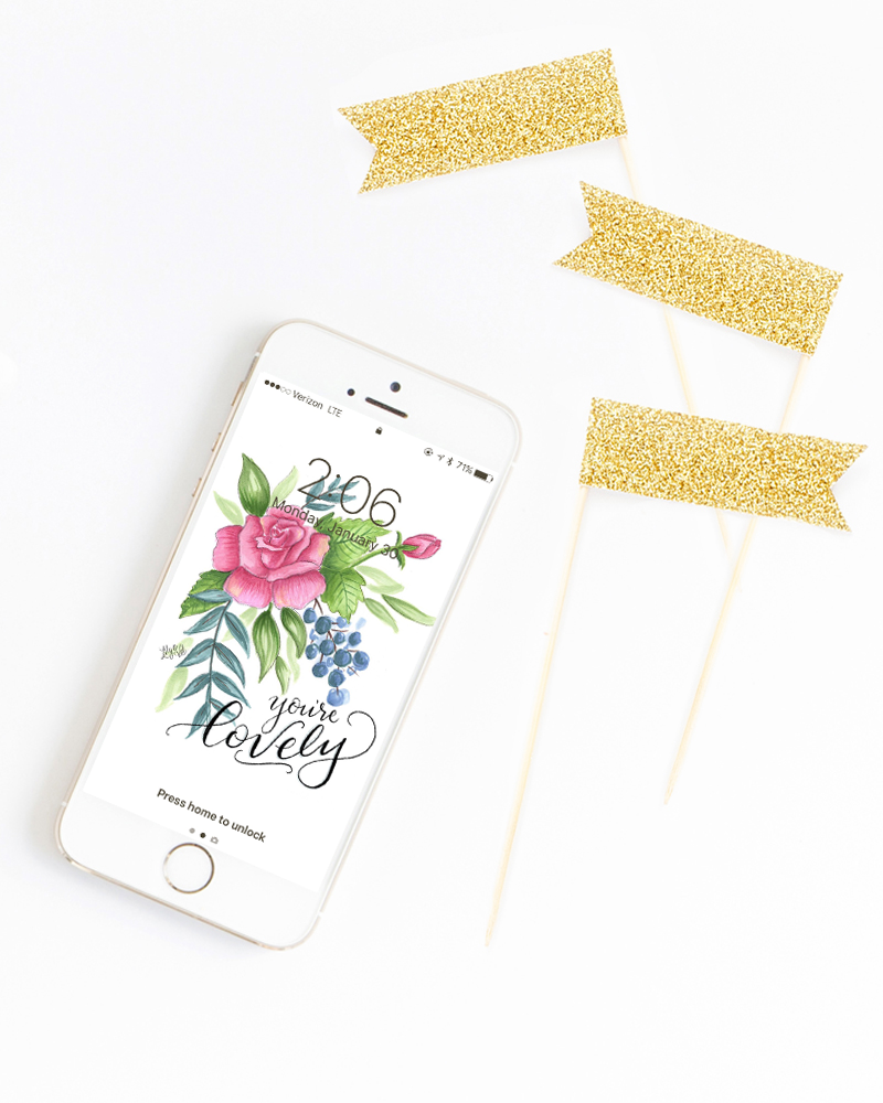 February free download -  iphone wallpaper, hand lettered and drawn by Valerie McKeehan