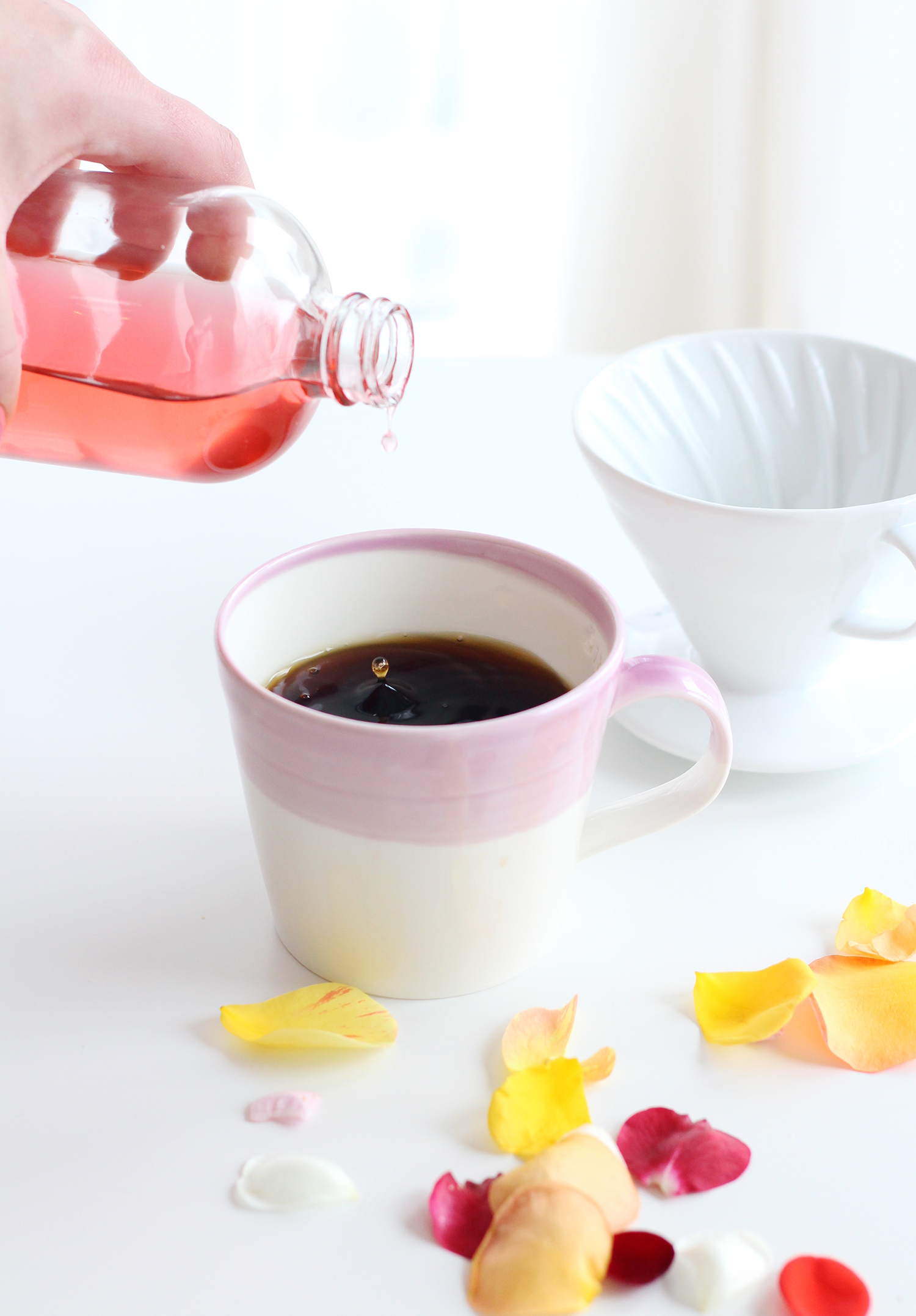Homemade rose simple syrup is perfect for adding to coffee, tea or cocktails
