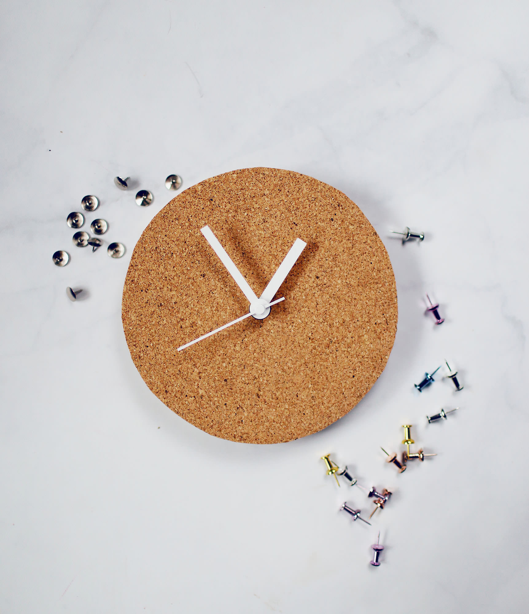 DIY Cork Clock - Office Decor - Desk Decor - Cork Clock - Lily & Val Living