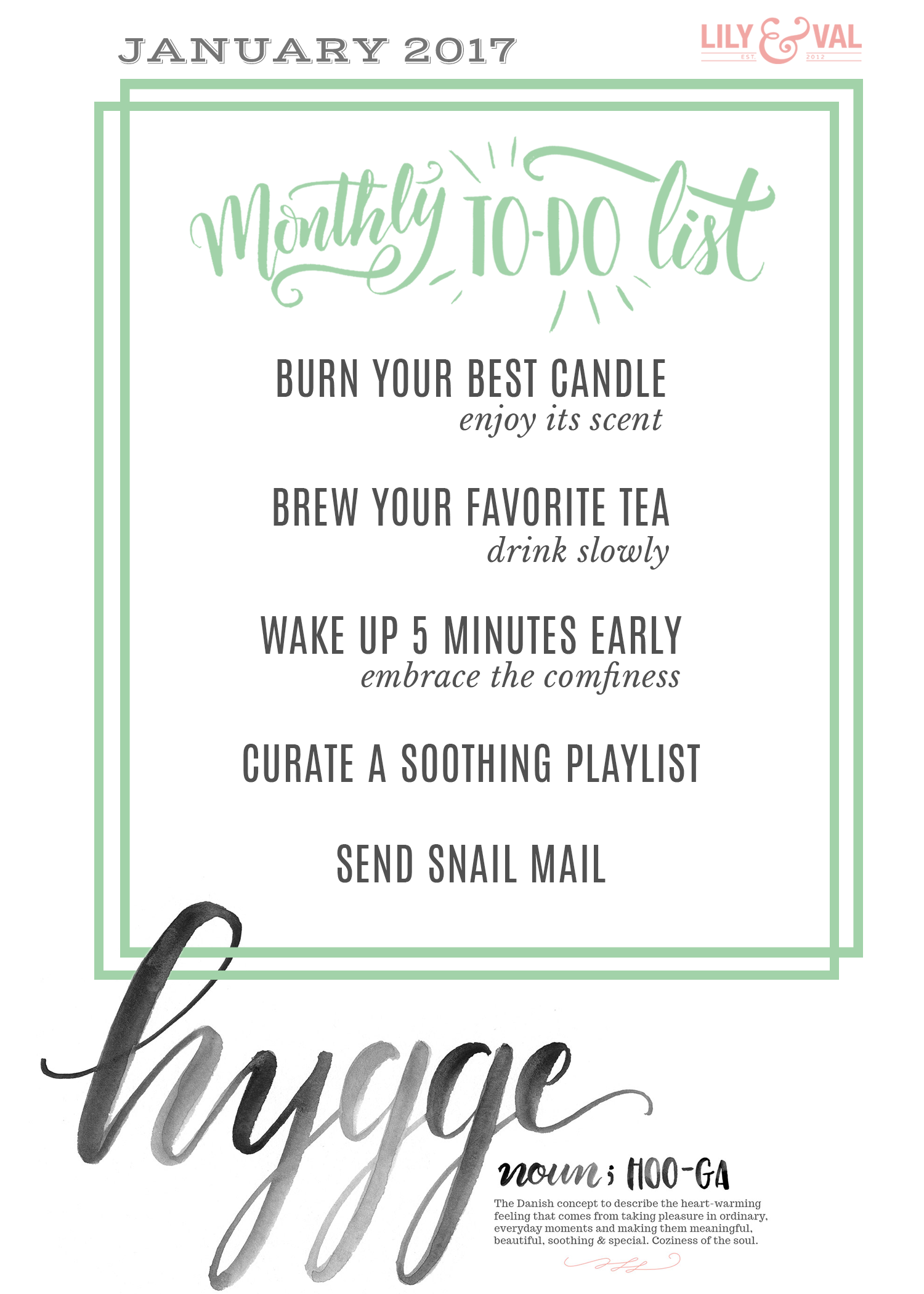 Winter ideas to keep yourself centered - free download for hygge living