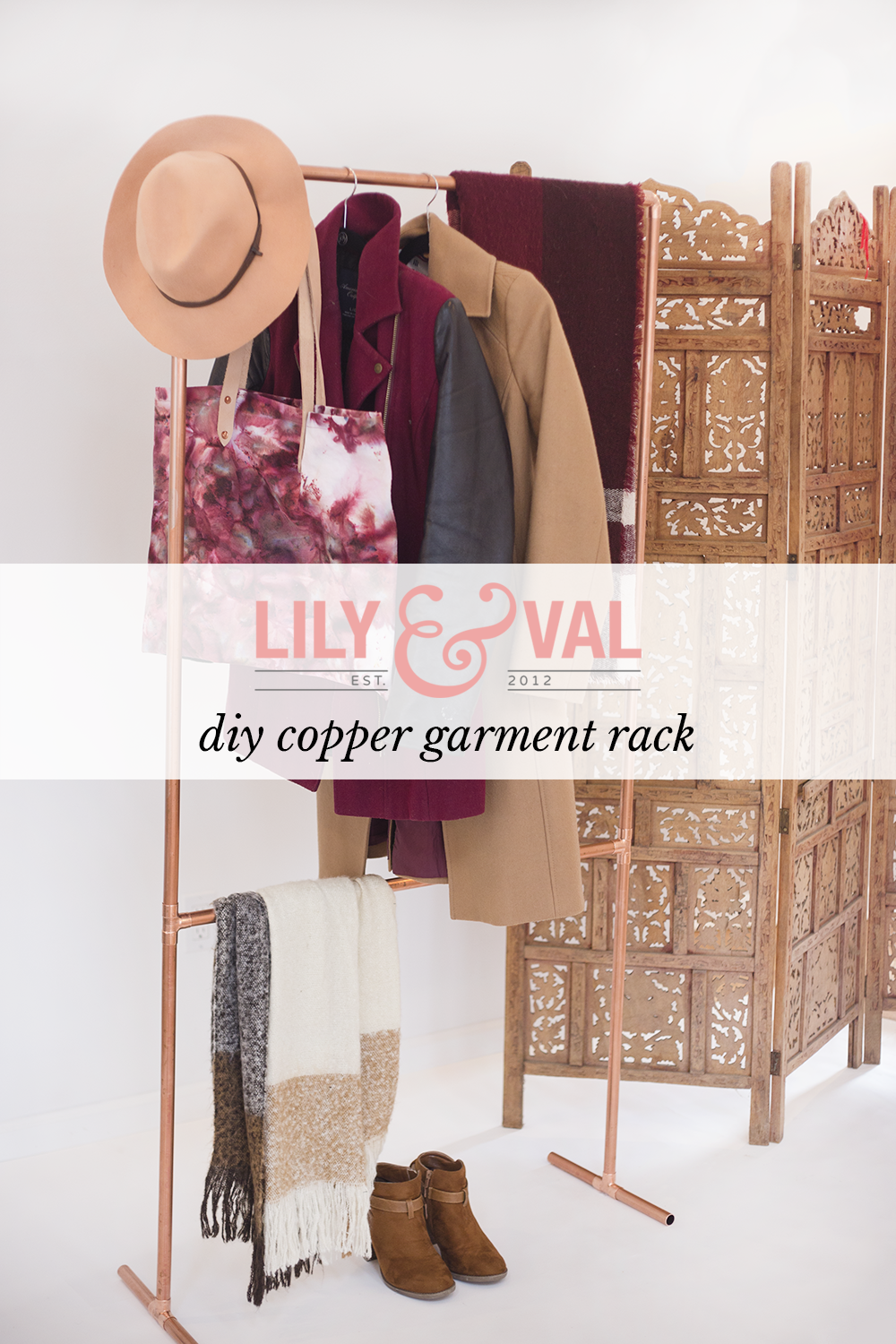 DIY copper garment rack | DIY garment rack | modern organization