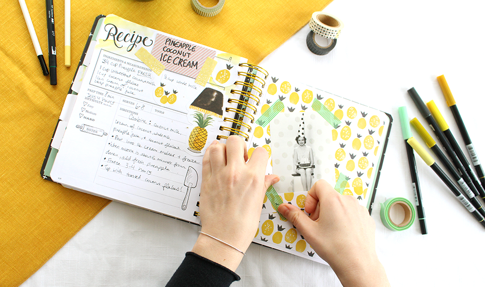 How to craft a fun, unique recipe page in the Keepsake Kitchen Diary (a recipe-memory scrapbooking journal)