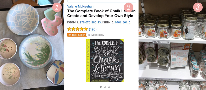Lily & Val team spend the day painting pottery at Color Me Mine, The Complete Book of Chalk Lettering is a #1 seller on Amazon, mason jars of all shapes and sizes at The Container Store