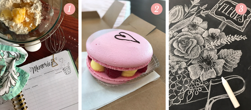 Pretty Ordinary Friday from Lily and Val features - ingredients in a bowl ready to be made in the kitchen, a pink Valentine's Day macaron with a heart, chalk art drawing of flowers