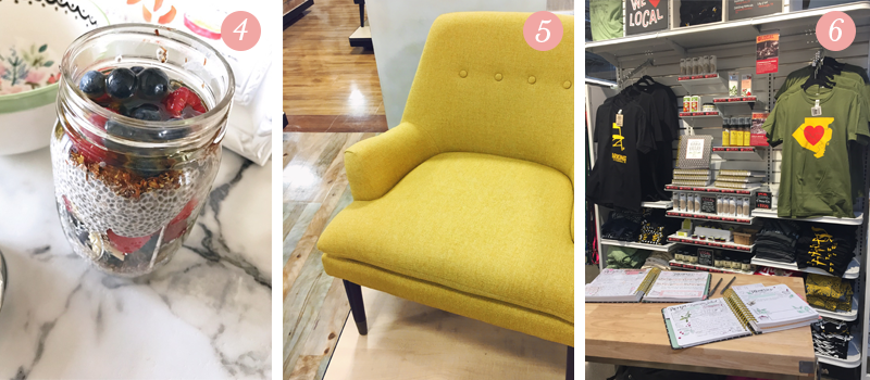 A healthy breakfast of chia pudding with fruit and nuts is easy to make, a mustard yellow mid-century chair adds charm to any living space, South Hills Whole Foods in Pittsburgh showcase local artist featuring Lily & Val's Keepsake Kitchen Diary