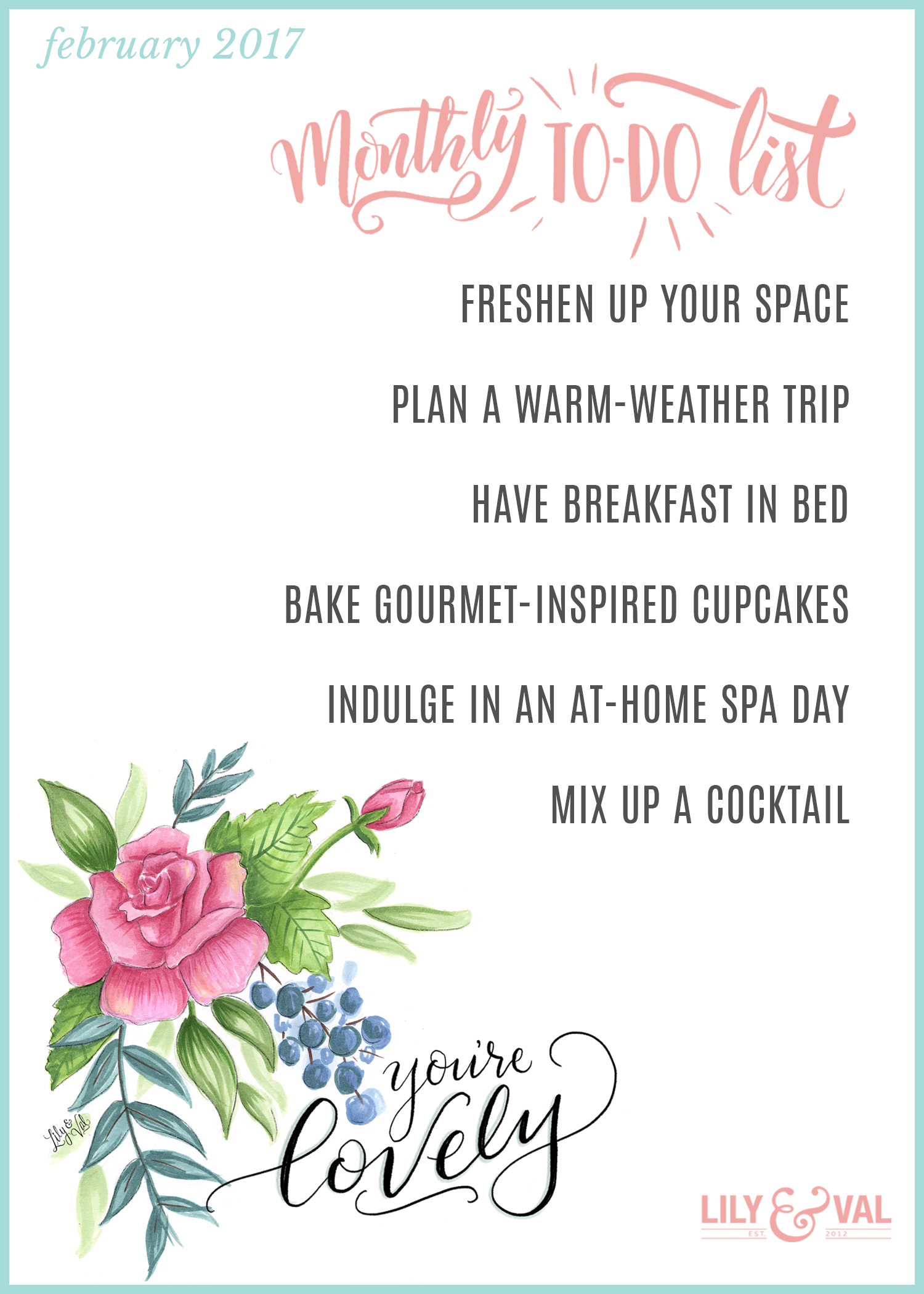Check off these fun to-dos with our February free download on Lily & Val Living