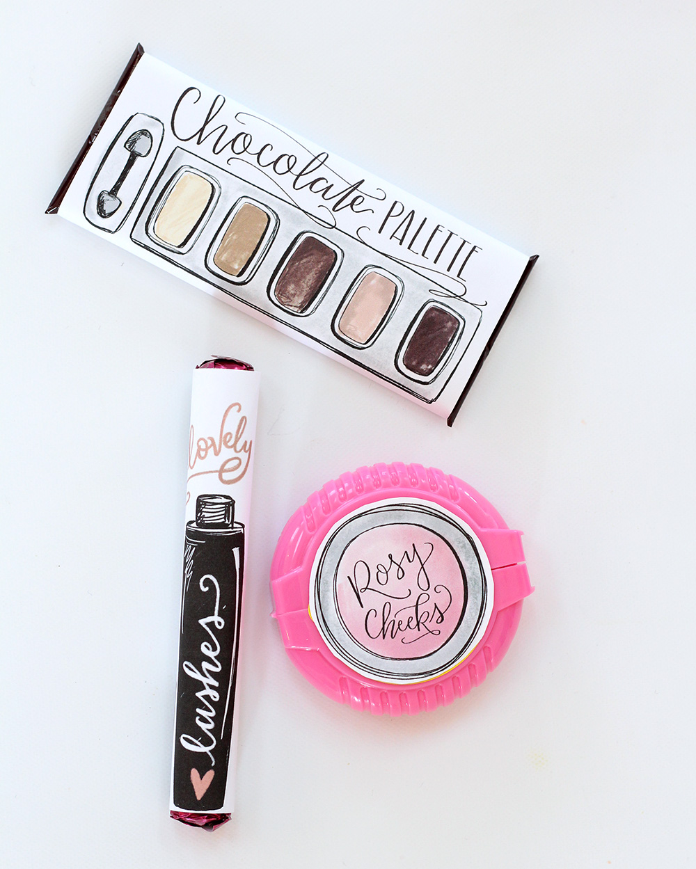 Candy never looked cuter! Makeup-themed Galentine's Gift with free hand-drawn download- Lily & Val Living