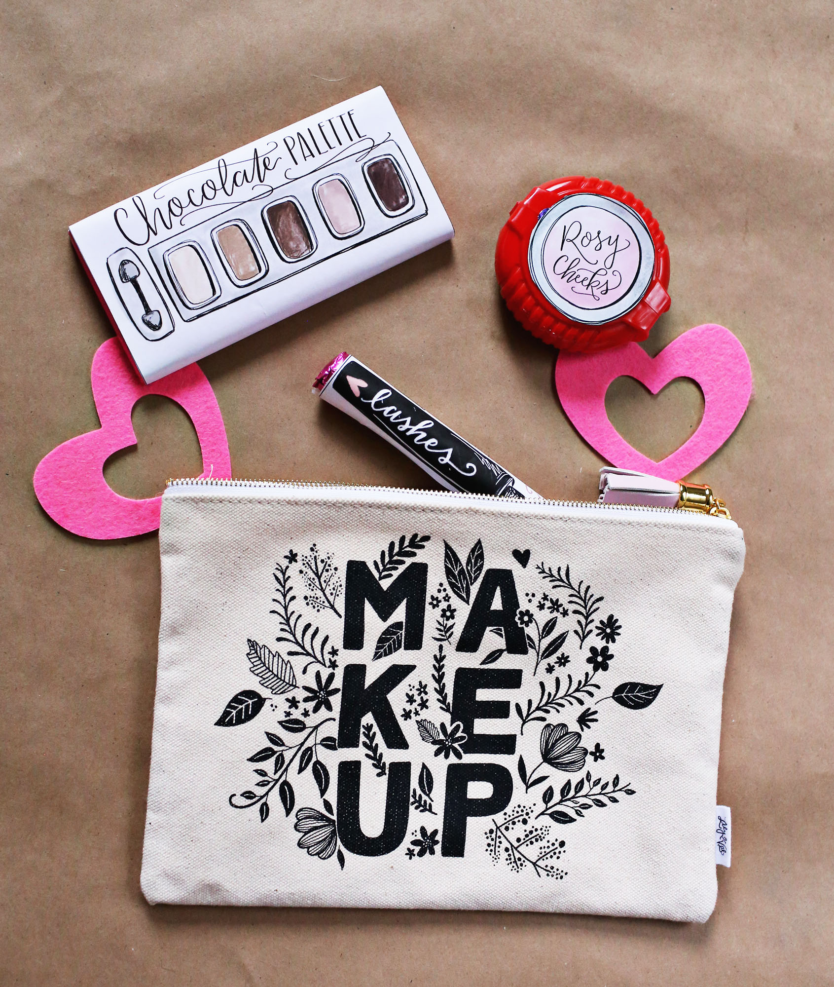 Makeup-themed Galentine's Gift - Gal Pal Gift - Bridesmaid Gift - Makeup pouch gift - Lily & Val Living