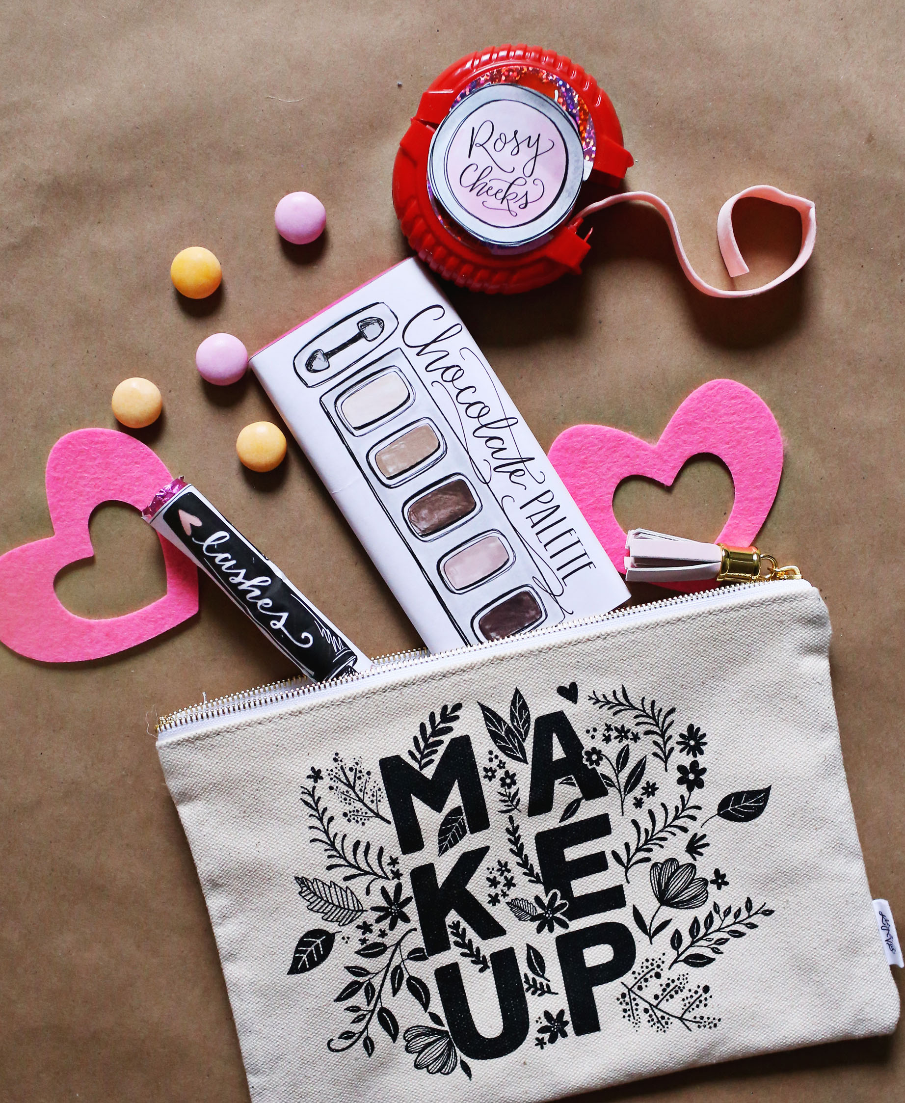 Candy never looked cuter! Makeup-themed Galentine's Gift - Lily & Val Living