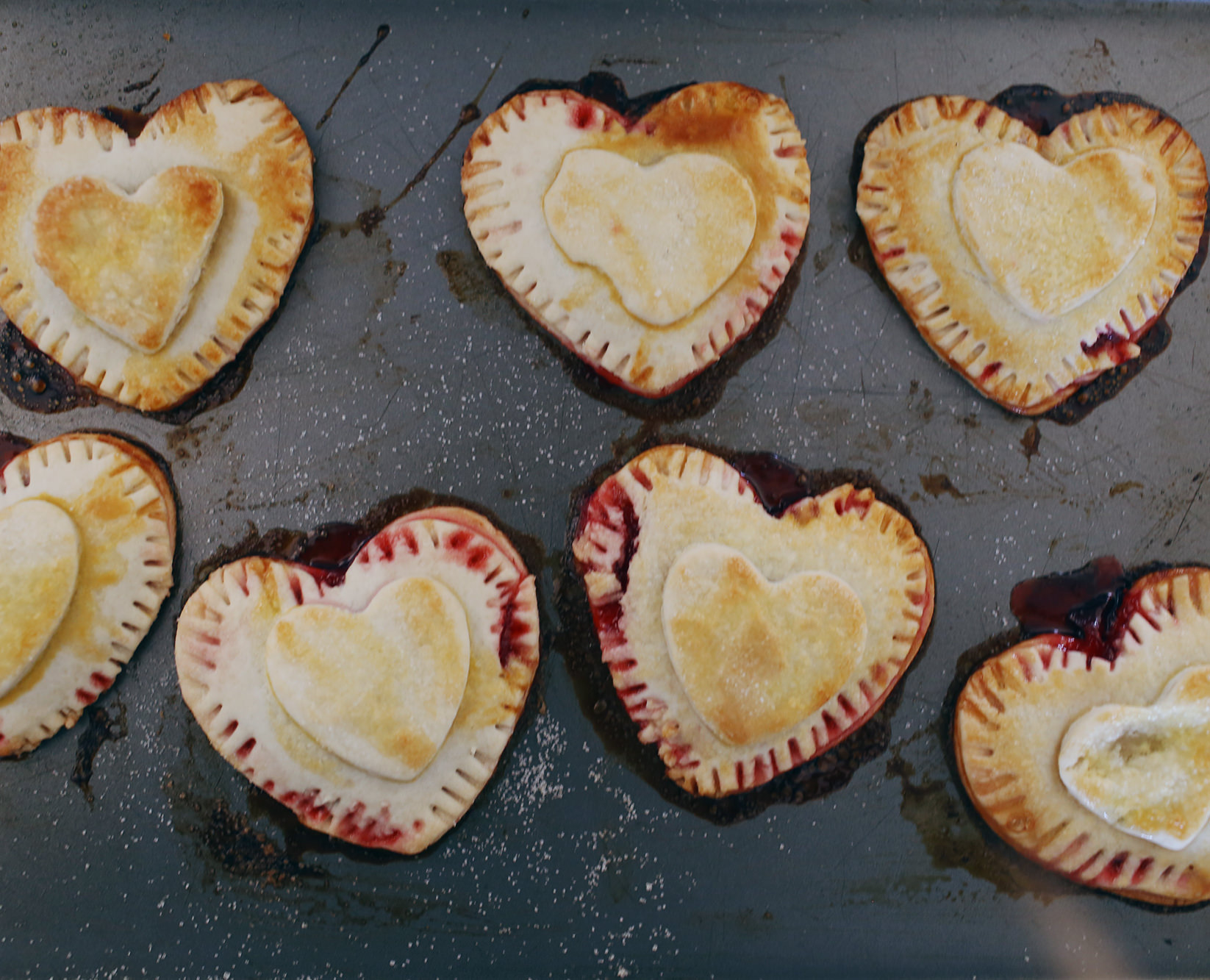 Super cute, mini heart strawberry pies on Lily & Val Living