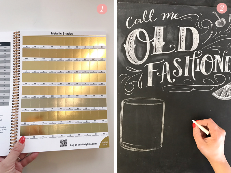 Lily & Val Pretty Ordinary Blog #45 presents gold foil samples and chalk lettering in progress for Old Fashioned