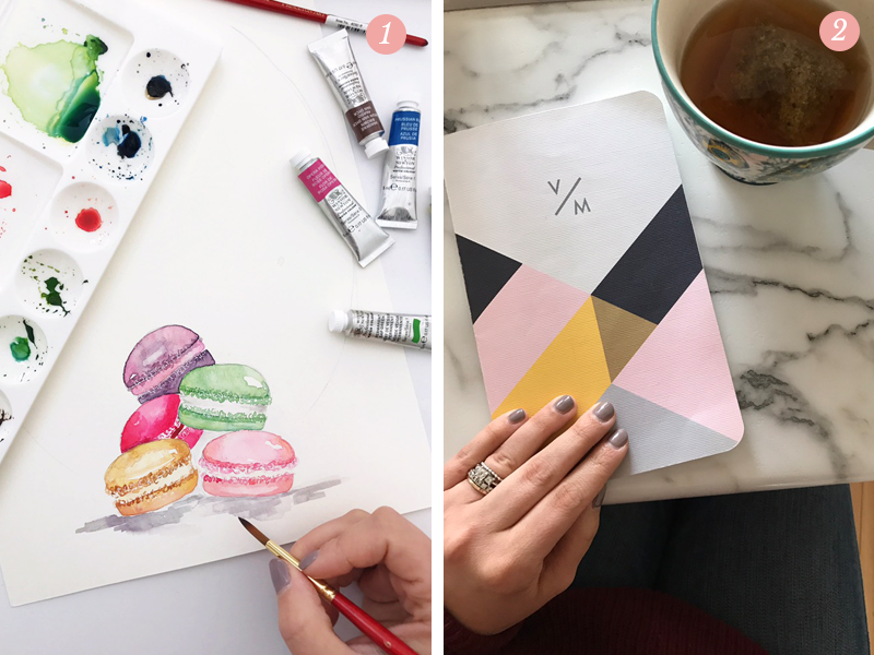 Valerie McKeehan using watercolors to paint macarons, idea notebook for Lily & Val's new spring collection