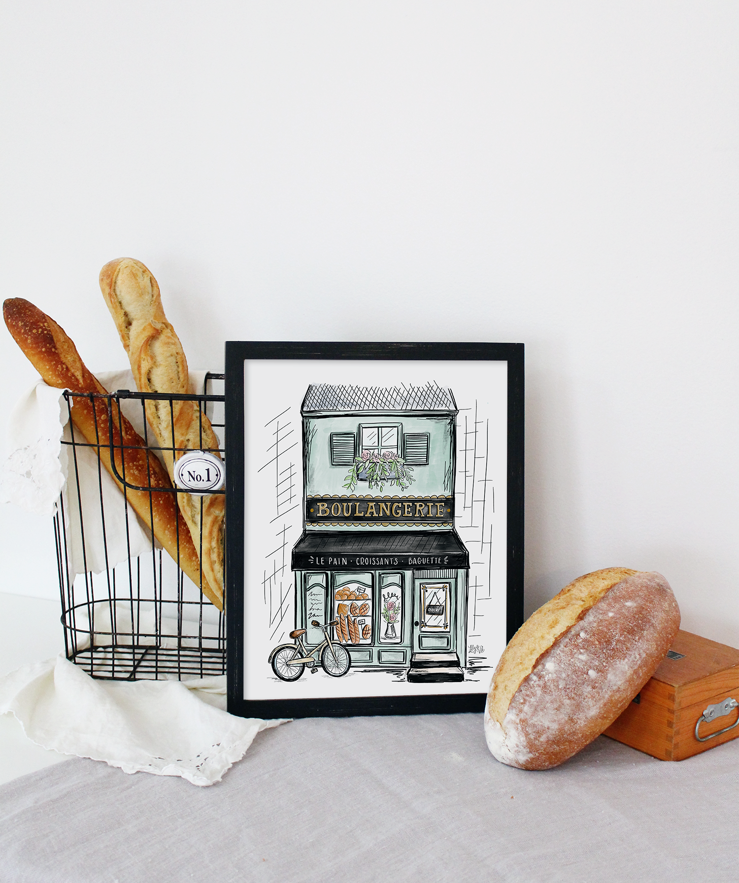 Hand illustrated French Boulangerie storefront as part of The Lily & Val Spring in Provence Collection