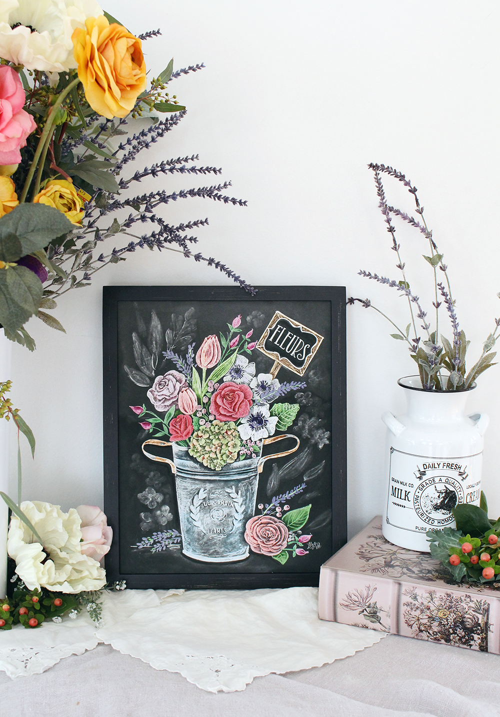 Fleurs- a chalk art print by Lily & Val depicting the flowers in Provence