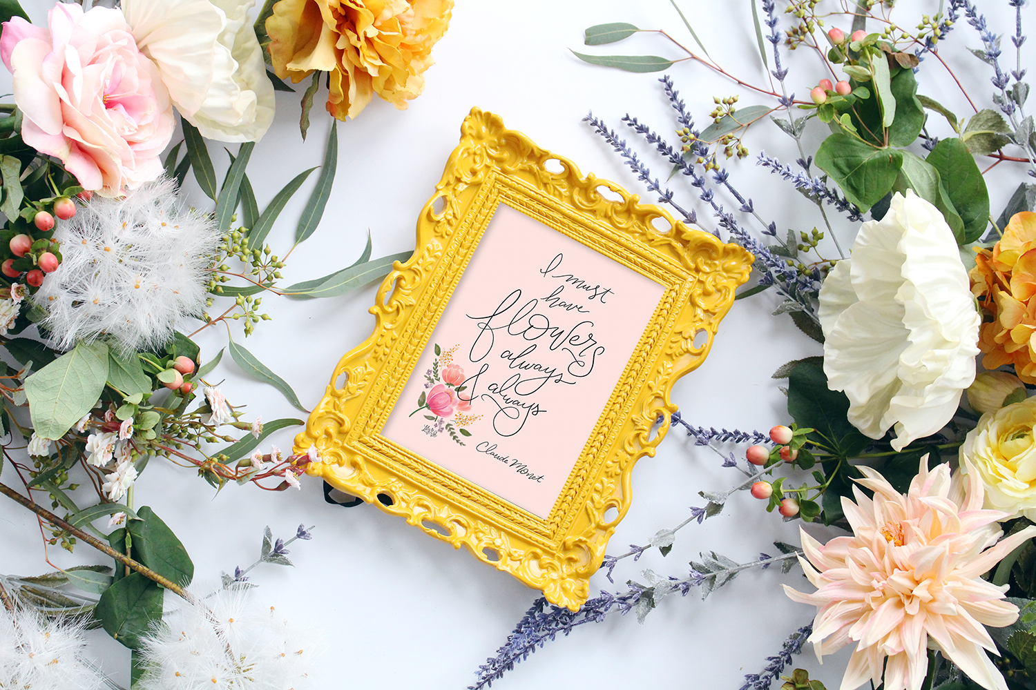 I must have flowers always & always. We agree with Monet! His famous quote hand-lettered for the 2017 Lily & Val Spring Print Collection