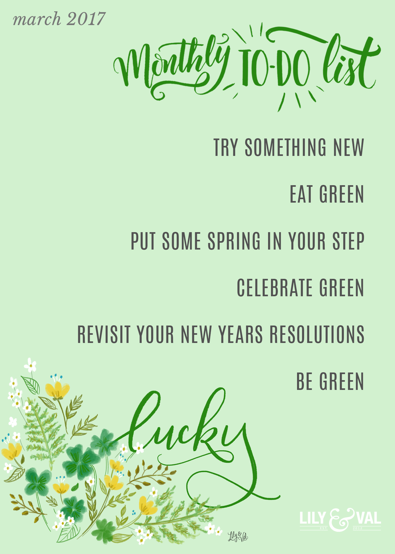 March To Do list | ideas for March | lucky | living green