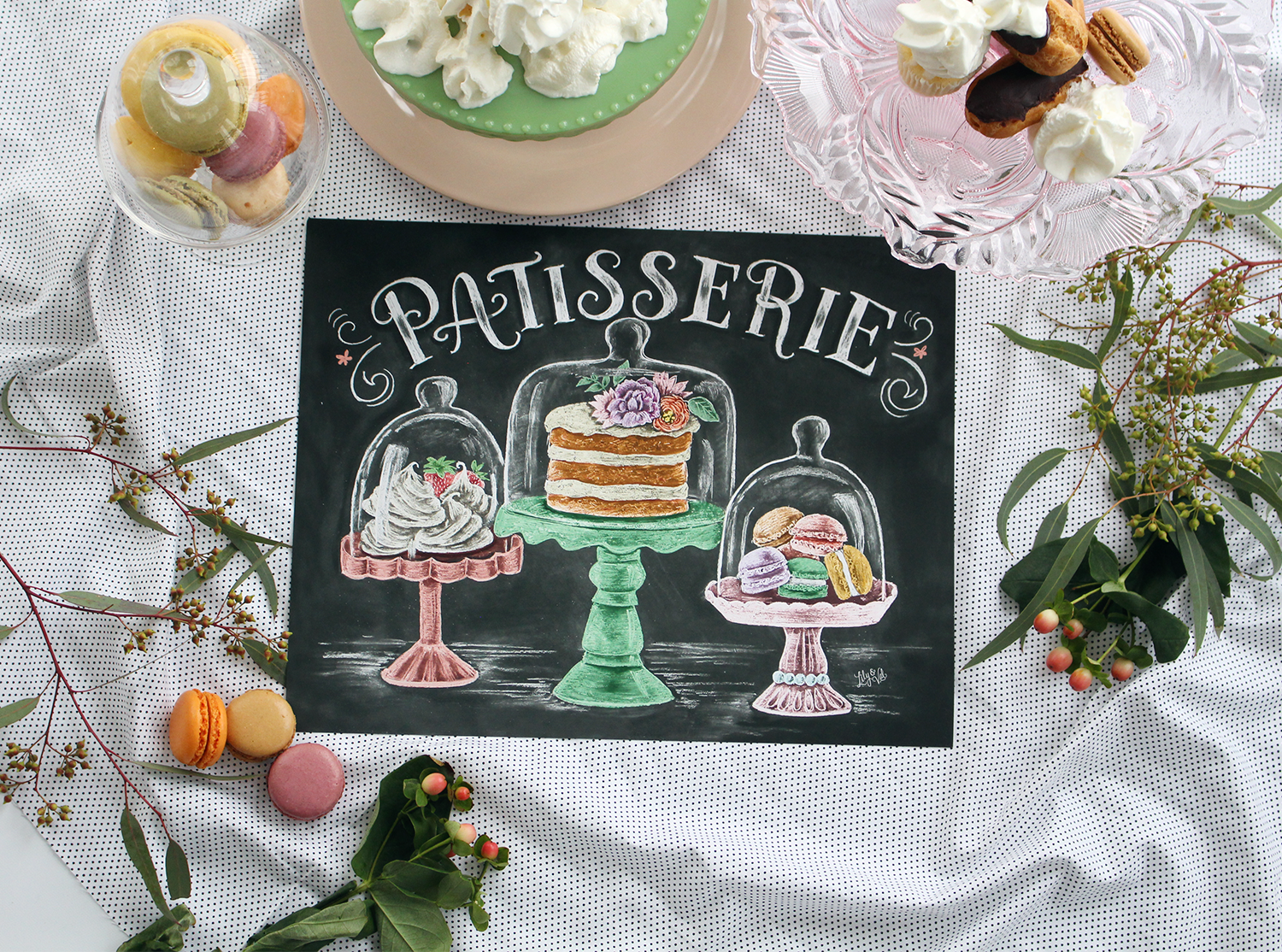 The Patisseries in France inspired this hand-illustrated chalkboard design as part of the Lily & Val Spring Print Collection