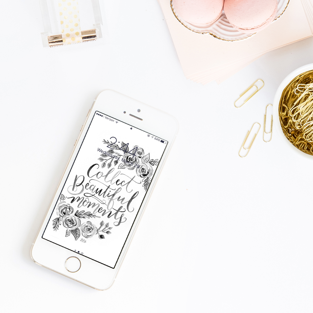 April free download - iphone wallpaper, hand lettered and drawn by Valerie McKeehan