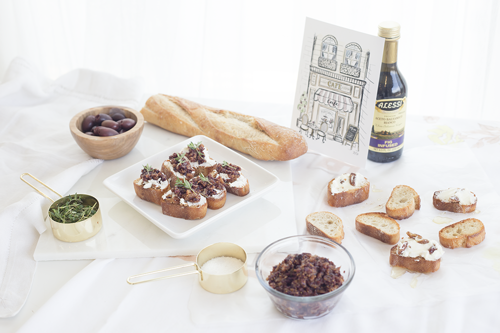fig and olive tapenade | goat cheese crostini | olive tapenade recipe