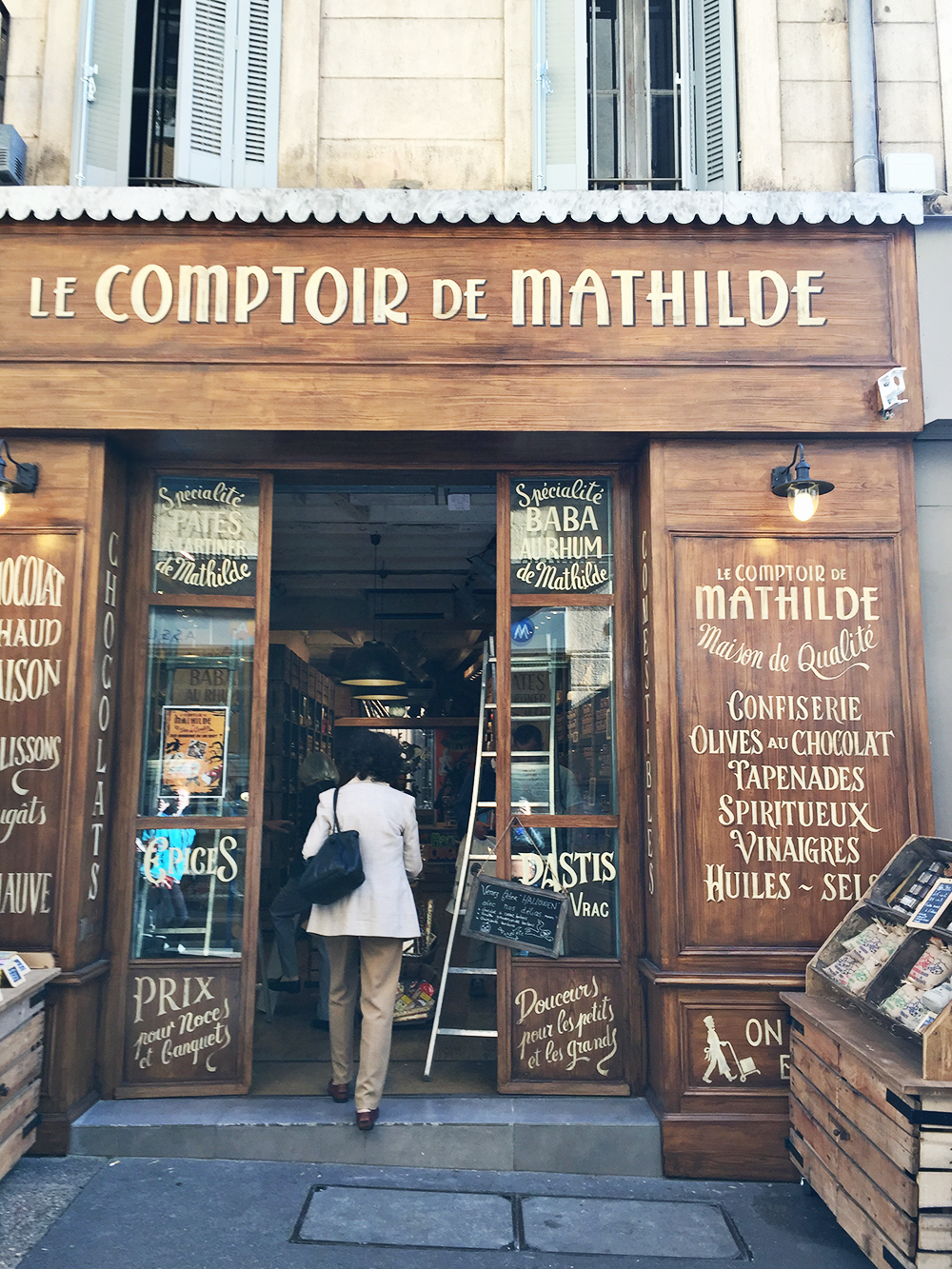 The lettering and signage on storefronts in Paris and Provence inspired Lily & Val's 2017 Spring in Provence Print Collection