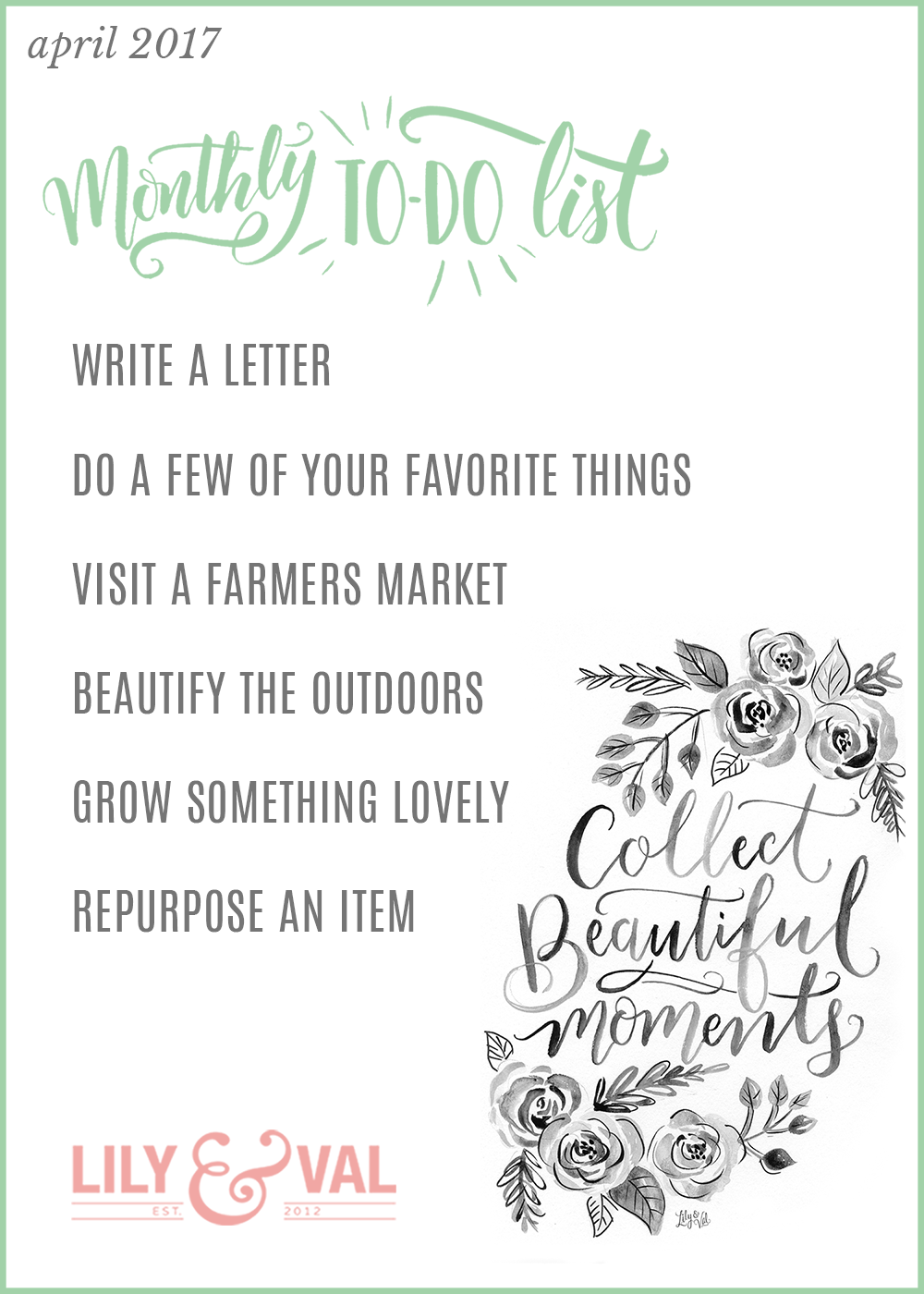 April FREE download | inspiration to do list | April activities