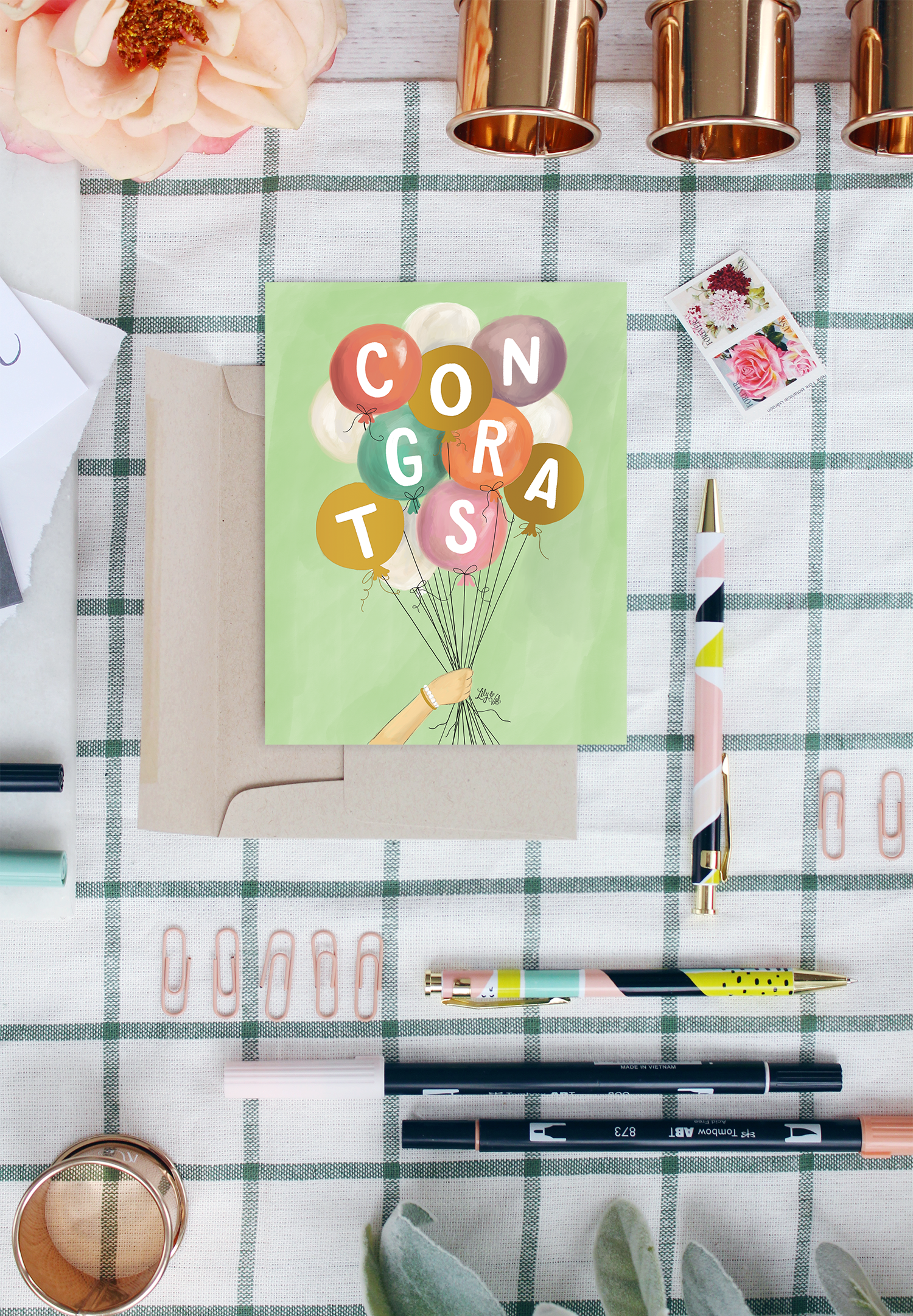 Send a letter in our new gold foiled, hand-drawn congrats card