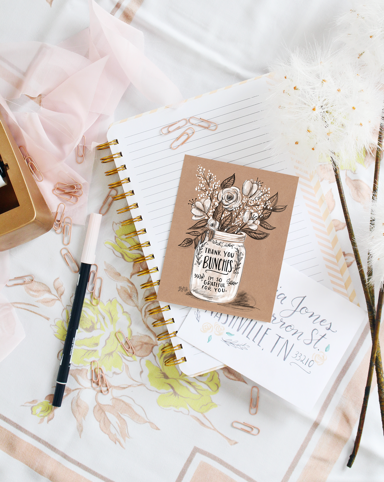 "The rustic touch of kraft paper brings a modern feel to this simple ""thank you bunches"" hand-drawn note card"