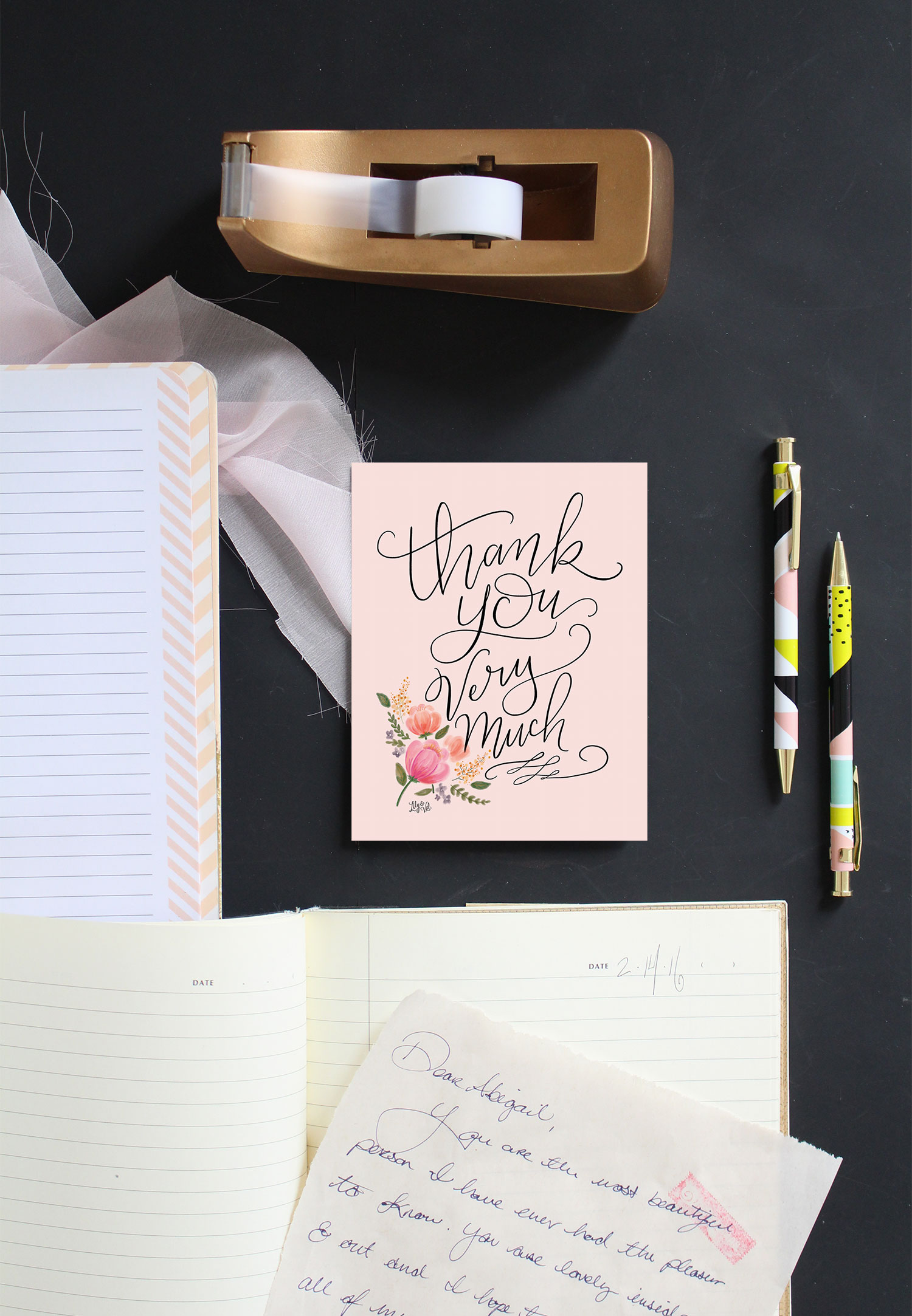 Send thanks and sweet wishes with this pretty in pink thank you card, hand-drawn by Valerie McKeehan