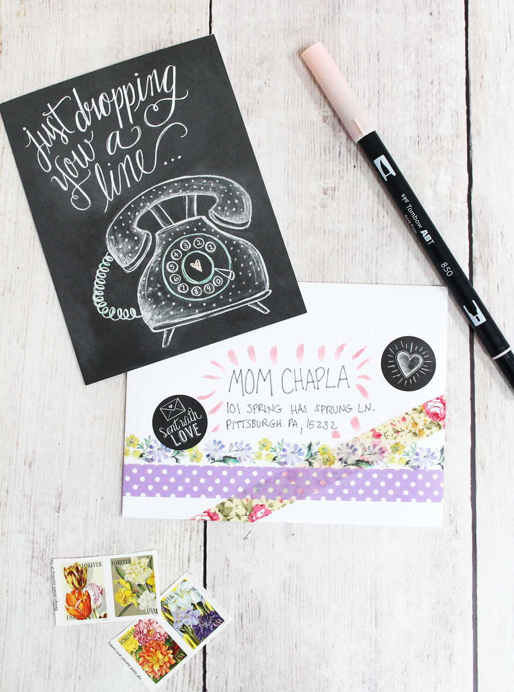 Snail Mail Inspiration | Envelope decorating | hand-drawn greeting card
