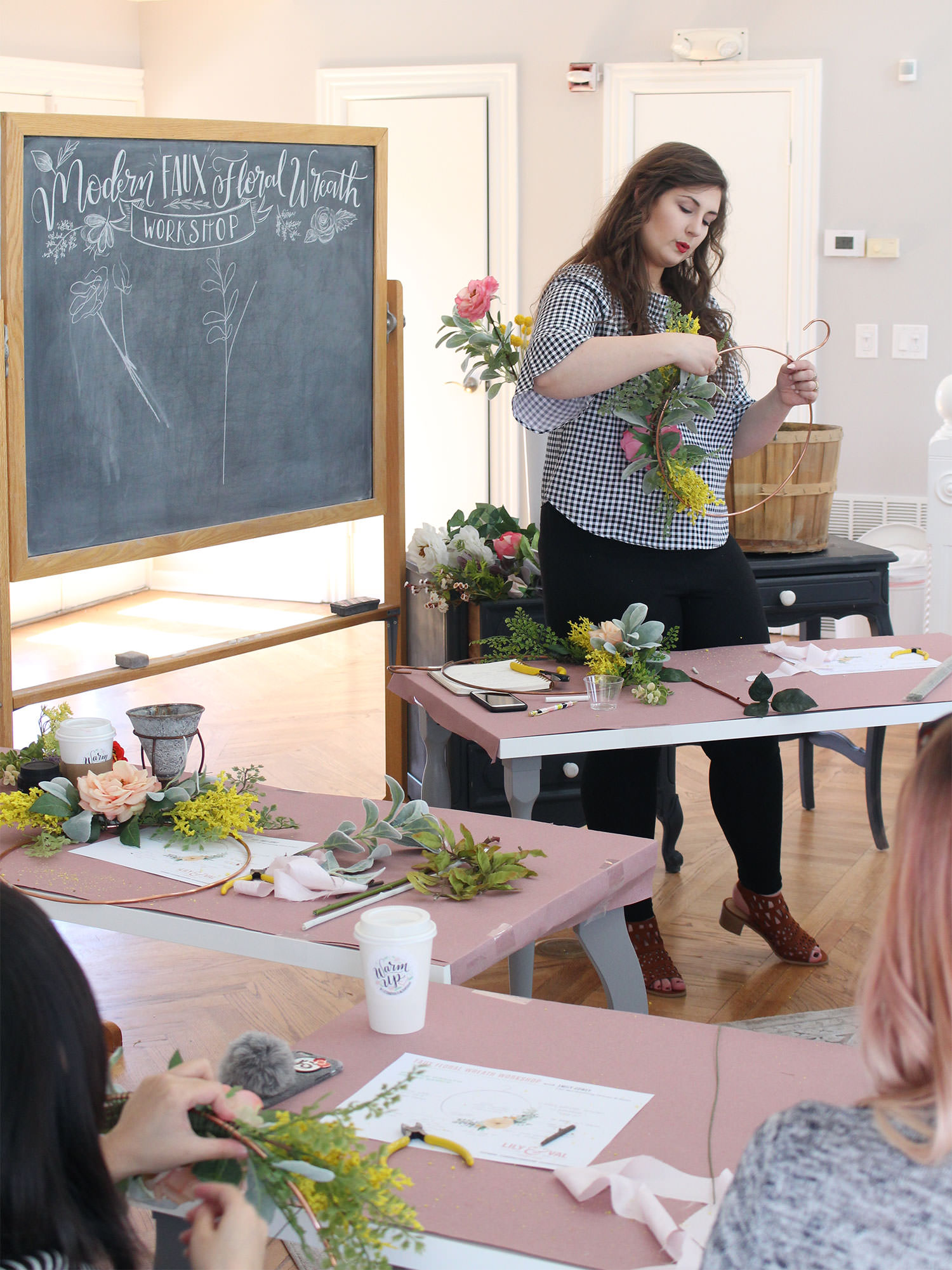 Modern Spring Faux Floral Wreath Workshop held in Pittsburgh at the Lily & Val Flagship Store