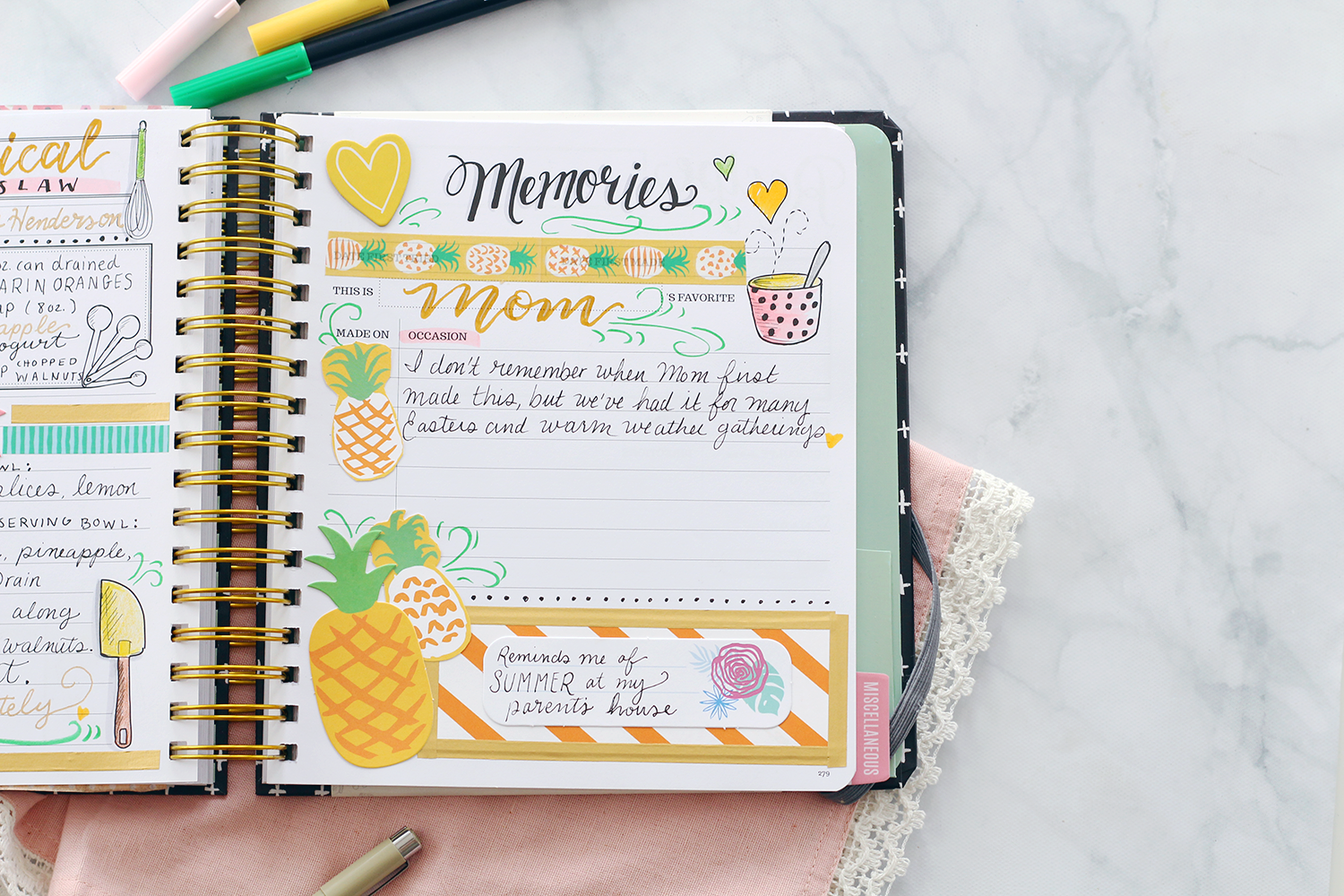 The Keepsake Kitchen Diary is not your average recipe keeper because it combines a journaling memory page for recording special moments and scrapbooking memories