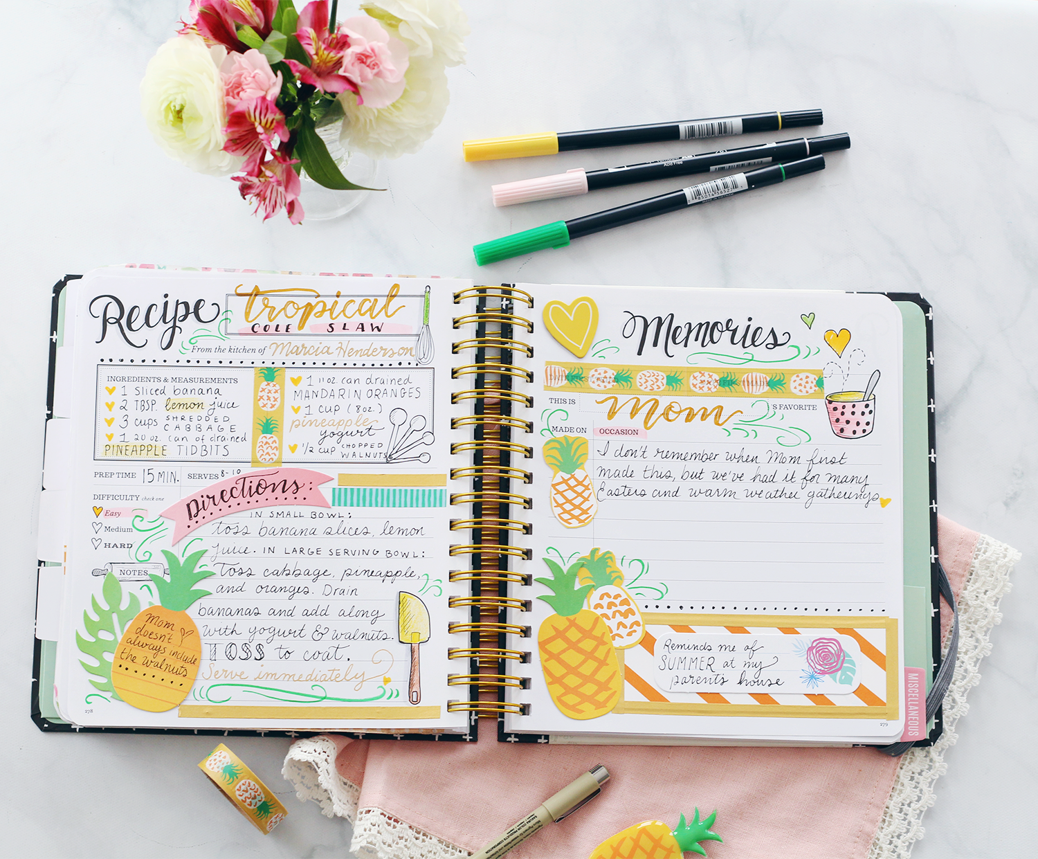 The Keepsake Kitchen Diary is perfect for scrapbooking recipes. It becomes a special family heirloom!