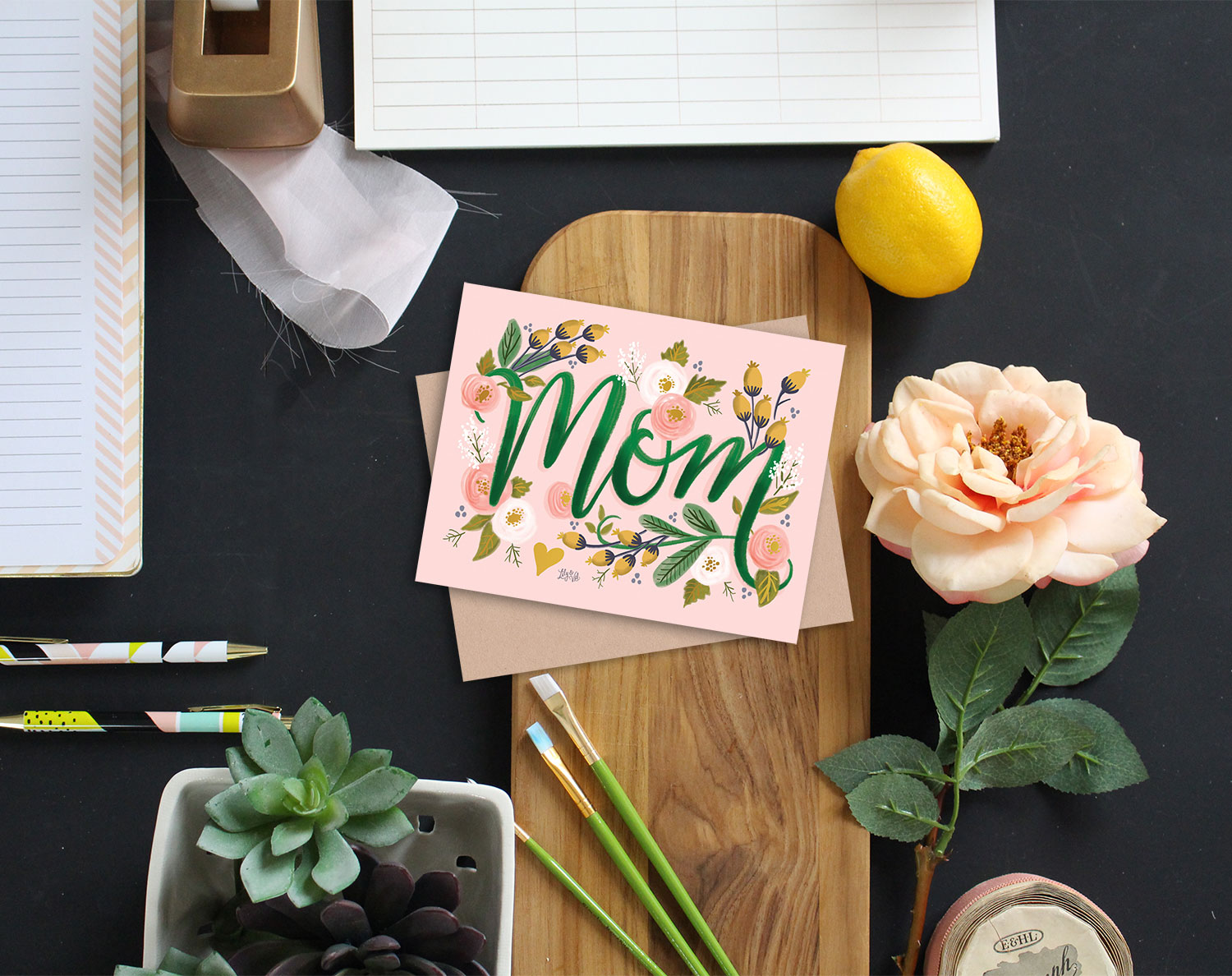 Gold Foil Hand-drawn MOM card for Mother's Day or any special occasion to make Mom feel special