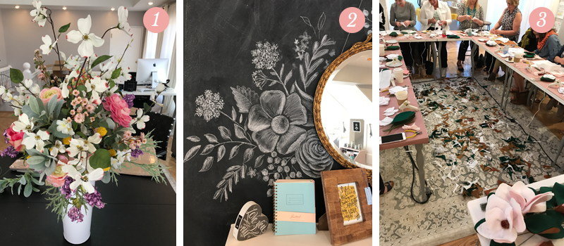 Lily & Val Presents: Pretty Ordinary Friday #52 shares floral arrangement for National Stationery Show in NYC, Chalk art mantel at Lily & Val Flagship store, Mother's Day workshop in Pittsburgh