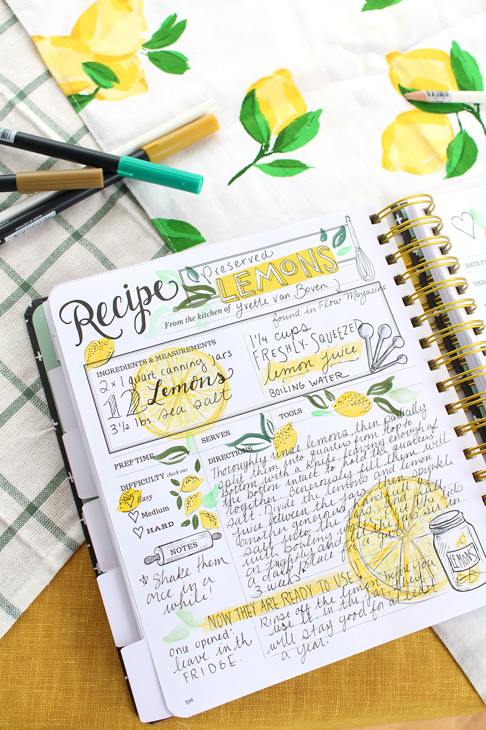 AKeepsake Kitchen Diary recipe spread by Valerie McKeehan - preserved lemons. The Kitchen Diary is a DIY cookbook with room to write memories.