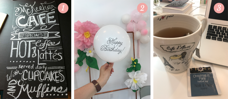 Lily & Val Presents: Pretty Ordinary Friday #55 shares Valerie McKeehan's first Chalk Art piece that started Lily & Val, Lily and Val celebrated their 5th Anniversary, Stash tea in an Anthropologie mug