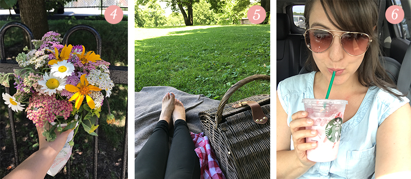 "Lily & Val Presents: Pretty Ordinary Friday #58 shares farmer's market flowers, Saturday picnics in the park, and a delicious ""Pink Drink"" from Starbucks"