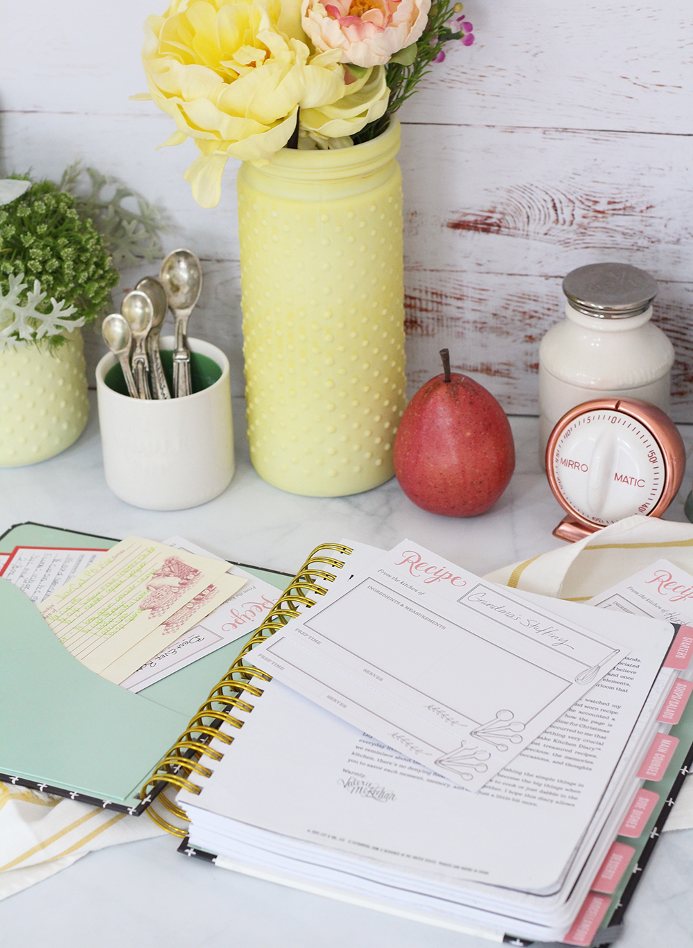 The Keepsake Kitchen Diary is a recipe journal combined with a recipe keeper for recording precious family recipes