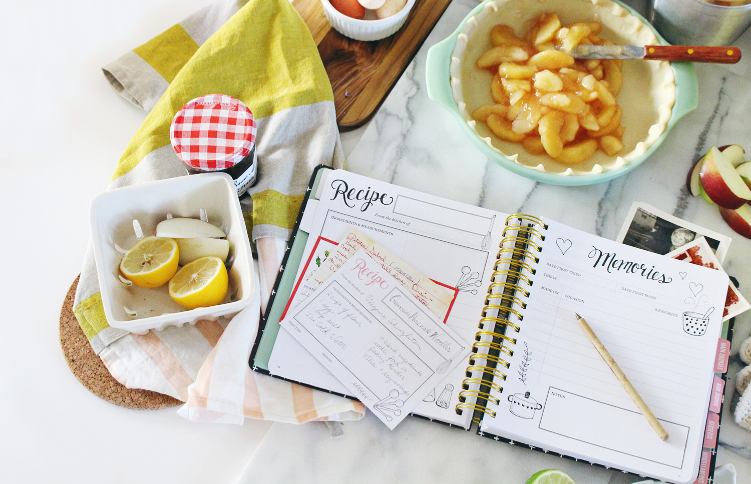 Record family recipes in the heirloom Keepsake Kitchen Diary. A recipe keeper combined with a journal!