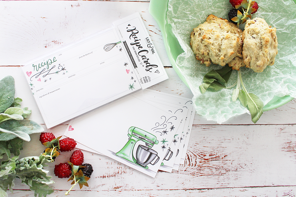 Housewarming Gift idea | bake a dish and bring a matching recipe card | hand-drawn designs by Lily & Val