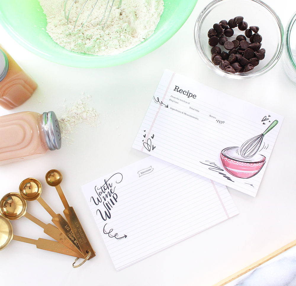 Watch me Whip recipe cards are cute and quirky for your handwritten recipes
