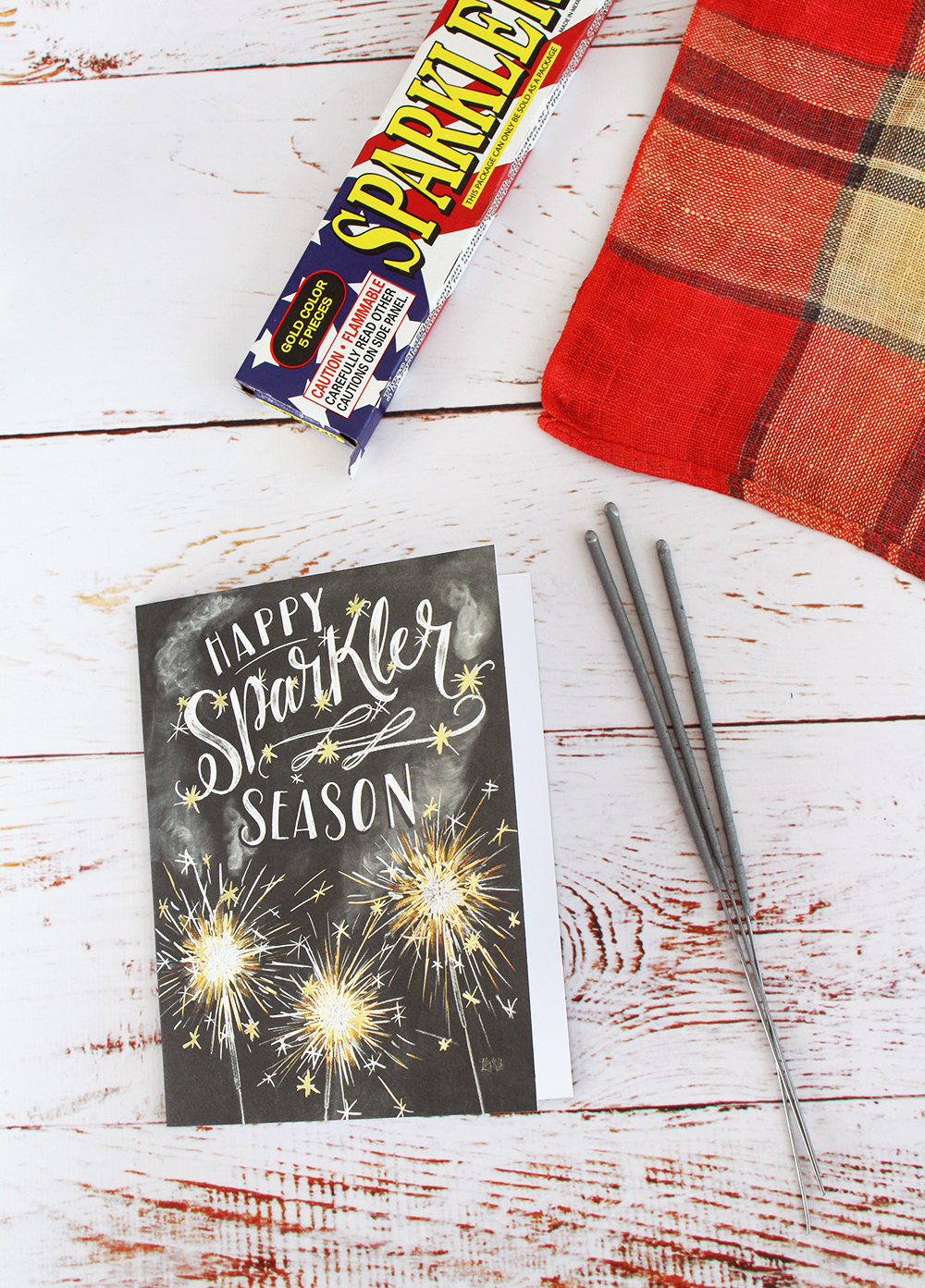 "Fourth of July Place Setting Idea | fun, hand-drawn ""Happy Sparkler Season"" cards"