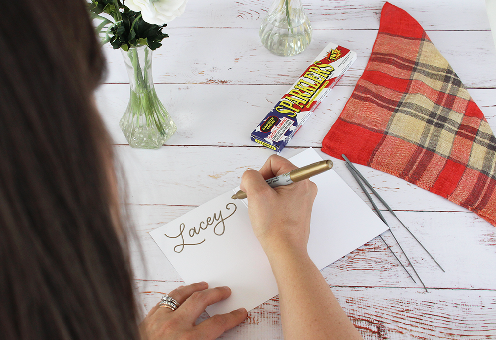 DIY project: place settings for the Fourth of July | An easy and cute idea from Lily & Val Living | hand-drawn Happy Sparkler Season card | for cookouts, picnics, and parties!