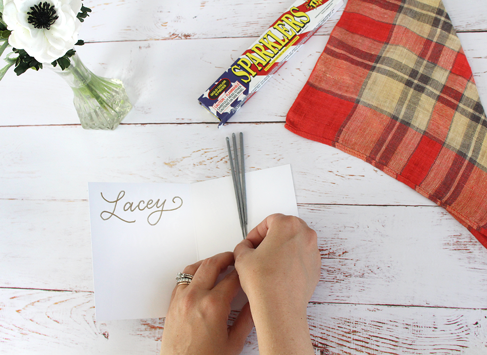 DIY project: place settings for the Fourth of July | An easy and cute idea from Lily & Val Living | hand-drawn Happy Sparkler Season card