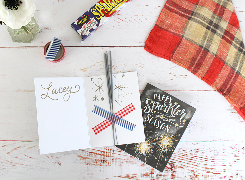 "Sparkler-themed place setting idea for the 4th of July! Use for a picnic, party, or cookout. | fun, hand-drawn ""Happy Sparkler Season"" cards"