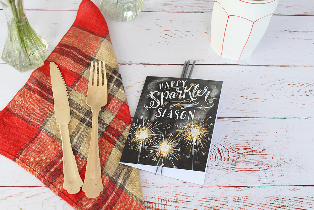 "DIY sparkler-themed place setting idea for the 4th of July. Inspiration for a cookout, get-together, party, or picnic. | fun, hand-drawn ""Happy Sparkler Season"" cards"