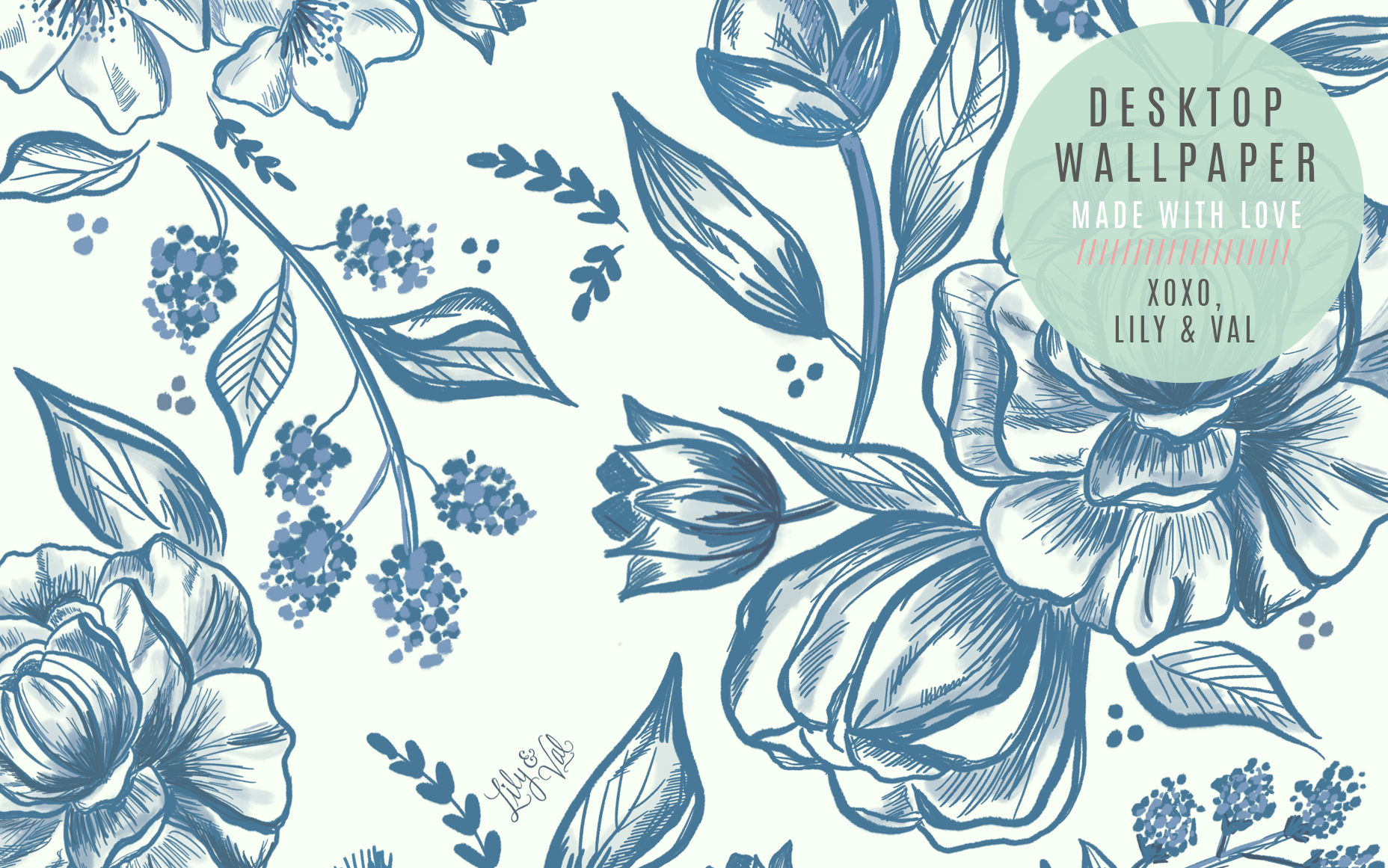 August's Blue Floral Free Desktop Wallpaper Download - hand-illustrated blue floral design by Valerie McKeehan of Lily & Val